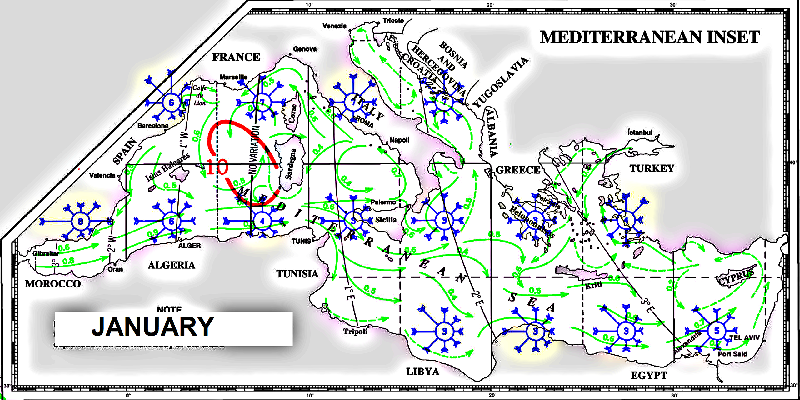 Pilot charts mediterraneo